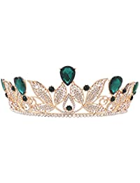 Pixnor–Tiara de cristales de Strass para boda, novia, princesa, fin de curso, diadema para el pelo tipo corona (color verde)