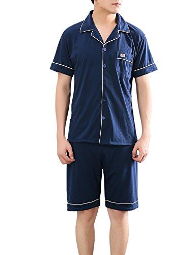 Aibrou Herren Baumwolle Pyjama Set, Sommer Warm kurzarm Zweiteiliger Schlafanzug Karierte Nachtwäsche Blau L (Sommer-pyjama Blaue)