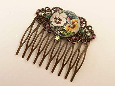 Peigne à cheveux avec motif fleurs fleurs accessoires pour cheveux