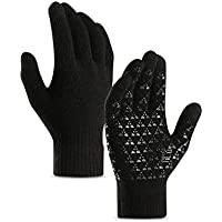 coskefy Knit Gloves Winter Touch Screen Gloves Thermal Running Gloves Fleece Lined Texting Gloves for Boys Girls Adult Kids