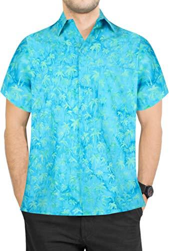 LA LEELA Casual Hawaiana Camisa para Hombre Señores Manga Corta Bolsillo Delantero Surf Palmeras Caballeros Playa Aloha XXL-(in cms):137-149 Turquesa_W631