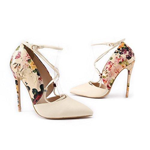 VogueZone009 Femme Pu Cuir à Talon Haut Pointu Couleurs Mélangées Boucle Chaussures Légeres Beige