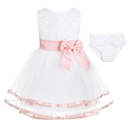 Tiaobug Baby Mädchen Kleidung Set aus Kleid+Windeln Hose Abdeckung Neugeborene Taufkleid Partykleid Blumenmädchen Geburtstag Kleider Kurzarm Outfits 0-24 Monate Pearl Pink 74-80/9-12 Monate (18 Monat-mädchen-kleider)