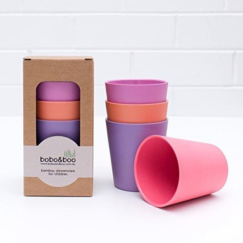 BoBo&Boo - Vaisselle en bambou, Lot de 4 gobelets - pour les enfants et les tout-petits - collection coucher de soleil