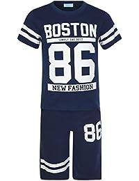 Enfants 2 Pièces T-shirt & Ensemble Short Boston 83 Imprimé Garçon Fille Haut Et Bas De Survêtement