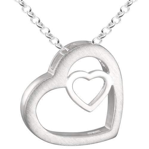 Vinani Anhänger Herz in Herz mit Erbskette 50 cm Sterling Silber 925 Kette Italien AHR-T50