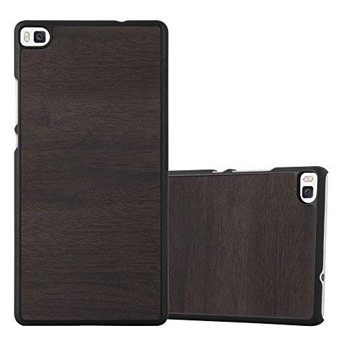 Preisvergleich Produktbild Cadorabo Hülle für Huawei P8 - Hülle in Woody SCHWARZ – Hardcase Handyhülle in Vintage Holz Optik - Schutzhülle Bumper Back Case Cover