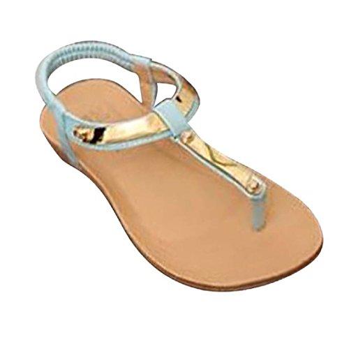 Vovotrade Frauen-Mädchen-Böhmen Pailletten Klippzehe Herringbone Sandelholz-Strand-flache Schuhe Blau