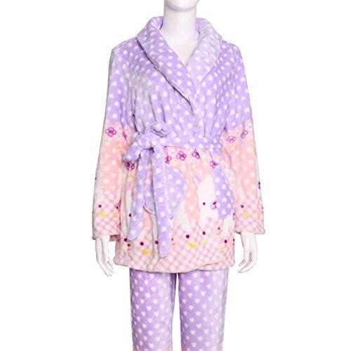Ladies in pile morbido caldo confortevole pigiama il sole/Fumetto stampato abbigliamento completo/ l'abito/ yukata A