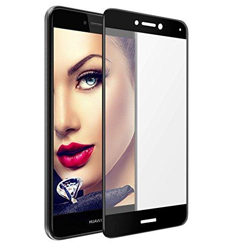 mtb more energy® Gewölbtes 3D Kombi-Schutzglas für Huawei P8 Lite 2017 / P9 Lite 2017 (5.2'') - schwarzer Softframe - 9H - 2.5D - Curved Full Bildschirm Glasfolie