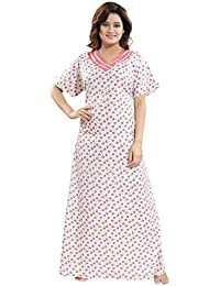 37353fa647 TUCUTE Womens Premium Cotton Fabric Nighty Night Gown Nightwear Nightdress  with Flower Print
