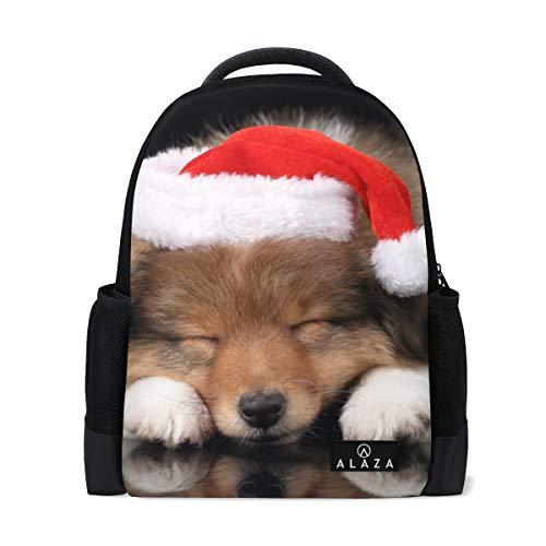 MyDaily Sheltie Puppy Santa Claus Hut Rucksack 14 Zoll Laptop Daypack Bookbag für Reisen College Schule -