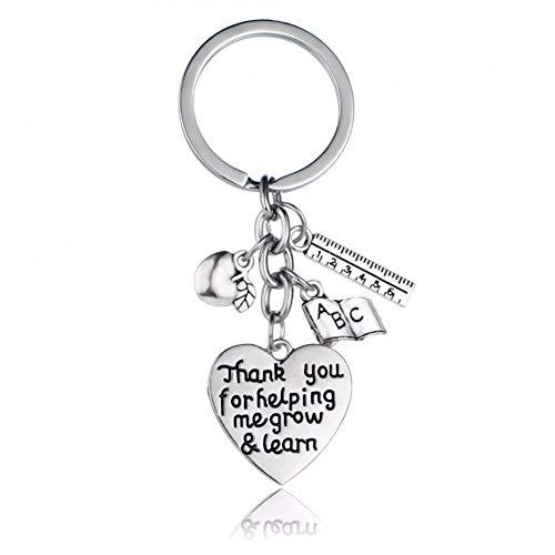 GANGXIA Schlüsselbund Schlüsselbund Danke, DASS Sie Mir helfen, wachsen Lernen Lineal Buch Charme Anhänger Schlüsselbund Herz Schlüsselanhänger Schlüsselanhänger Geschenk Lehrer