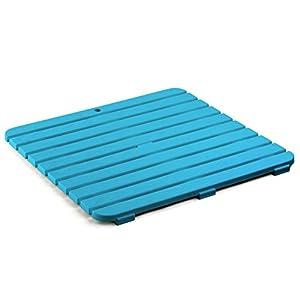 tarima flotante blanca: TATAY 5530004 - Tarima de baño cuadrada en plástico con efecto madera, medidas 5...