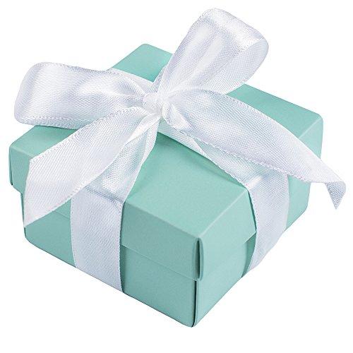 Marry Handeln 10 Party Hochzeit Tasche Gastgeschenken + 10 Seidenband, Mini kleinen Platz Türkis Candy Box mit Deckel für Hochzeit, Geburtstage, Hochzeiten und Baby Duschen, Papier, Aque Blue