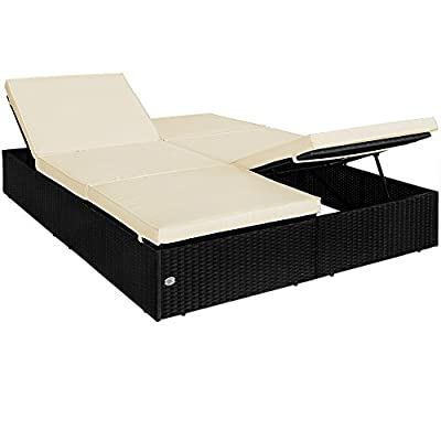 Rattan Garden Furniture Double Sun Lounger Day Bed Black Day Bed Sofa Recliner Patio - 195x160cm