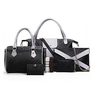 Donna sei lanosi ancorare una borsa a tracolla python granella sacchetto femmina joker portable croce obliqua bag,grigio Black