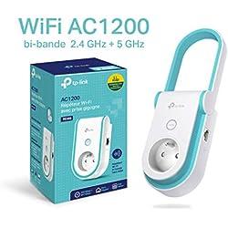 TP-Link RE365(FR) Répéteur WiFi - Amplificateur WiFi AC 1200 Mbps, 1 Port Ethernet, Prise intégrée FR, Augmente la portée du signal WiFi, Compatible avec toutes les box internet