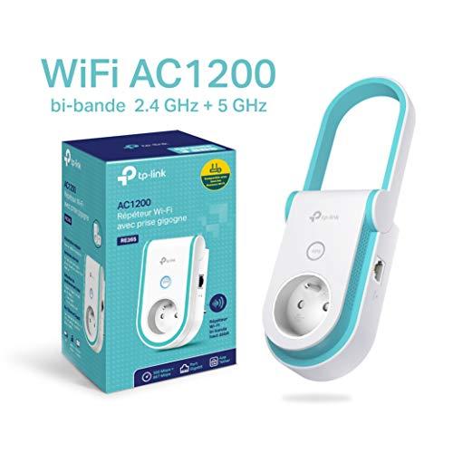 TP-Link RE365(FR) Répéteur WiFi - Amplificateur WiFi AC 1200 Mbps, WiFi Extender, WiFi Booster, 1 Port Ethernet, Prise intégrée FR, Augmente la borne wifi, Compatible avec toutes les box internet