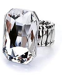 Bold N Elegant Big Crystal Artificial Solitaire Stone Studded Magnus Ring Adjustable Ring