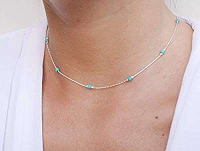 Collier ras du cou argent - chaine serpent argent 925 - perles pierres turquoise - choker argent - tour de cou chaine fine -bijoux été plage