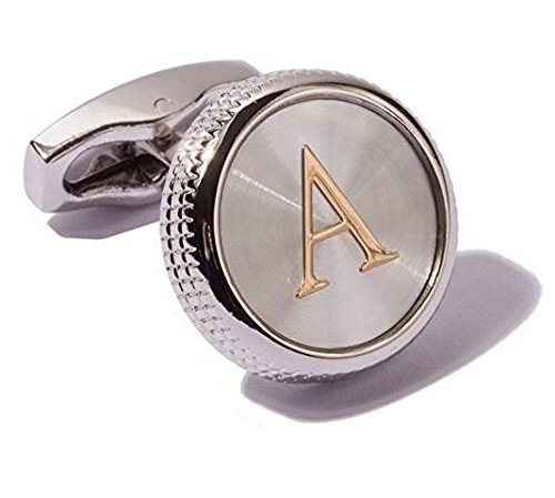 Men's 2PCS Fashion Dazzle Tuxedo Shirts Cufflinks Platinum Plated Cuff Button Alphabet Letter A-Z (A)
