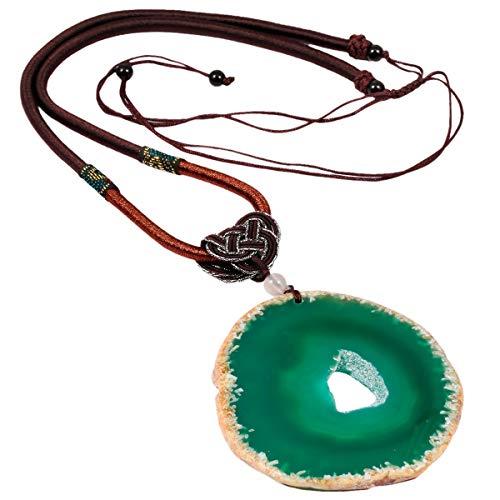 mookaitedecor Poliert Achat Stein Halskette mit Anhänger für Unisex, Amulett-Chakra-Stein Anhänger mit Kette verstellbar ca. 44-76cm (Achat-anhänger-halskette)