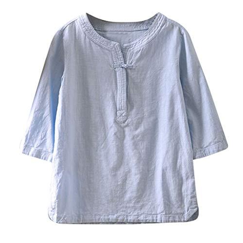 Geilisungren Blusas Elegantes Fiesta Camisetas Manga Corta de Vintage para Mujer Blusa Cuello Redondo Camisetas Casual Verano Blusa Talla Grande Camiseta Corta Tops Color sólido Pullover Chaleco