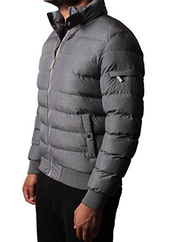 Mens rembourrée Bubble Quilted Doudoune doublé Manteau d'hiver Gris