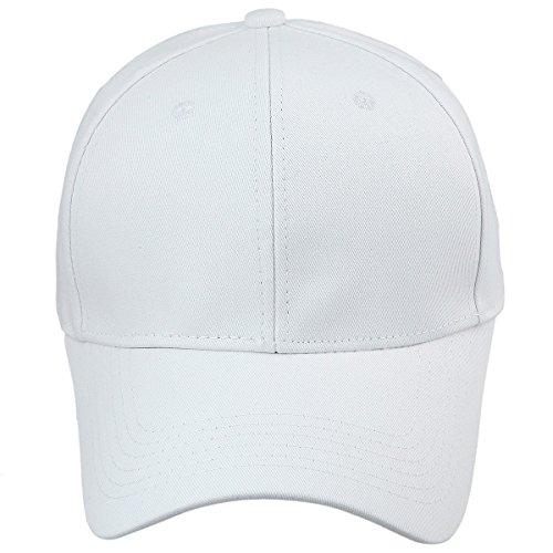 Sportmusies Baumwolle Baseball Kappe Hat, Massivem Farbe Uni Running Golf Kappen Low Profile Sports Sun Hüte, Herren, Weiß, Einheitsgröße - Gewaschen Nylon-kappe