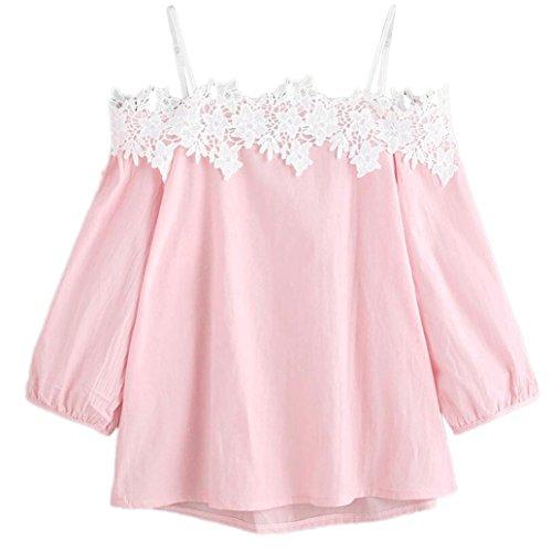Kimodo T Shirt Bluse Top Damen Tank Crop Weste Schulterfrei Spitze Oberteile Schwarz Blau Rosa Mode 2018