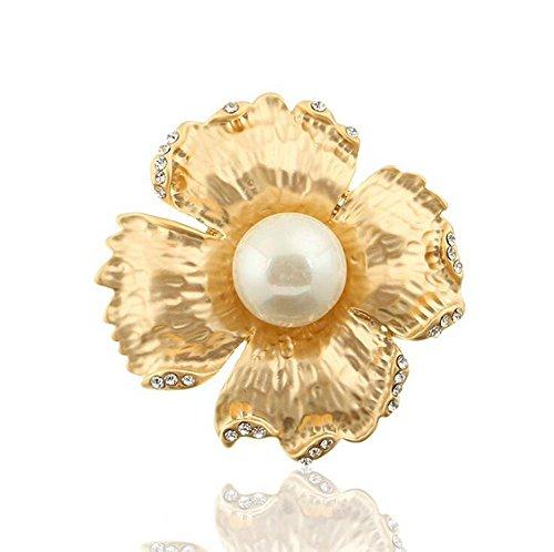 Hosaire Brosche Mode Perle Blütenform Broschen für Hochzeit Party Schmuck Zubehör Geburtstags Geschenk Bekleidung Dekoration,Golden -