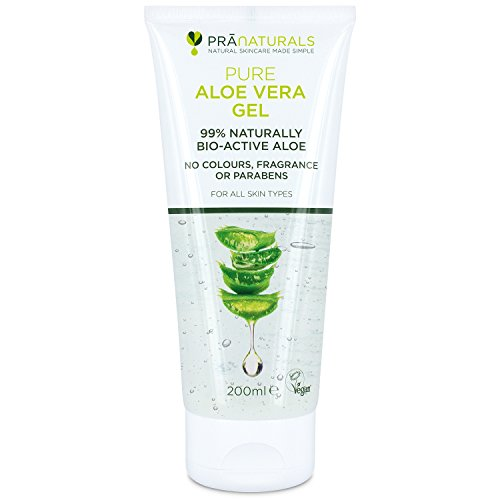 PraNaturals Bioaktives Aloe Vera Gel 200ml, Natürliche, beruhigende & nahrhafte Feuchtigkeitscreme, leicht absorptionsfähig, nicht...
