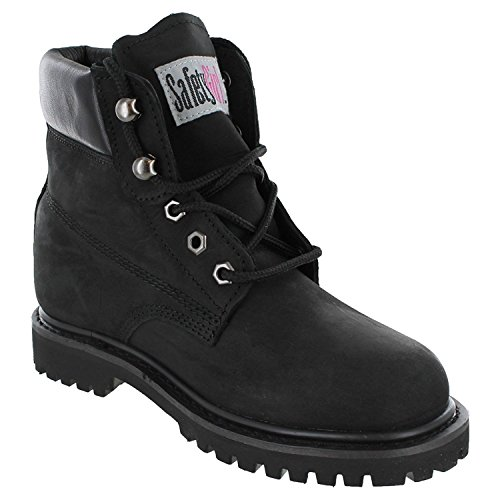 11.5 B(M) US : Safety Girl II Soft Toe Waterproof Womens Work Boots - Black