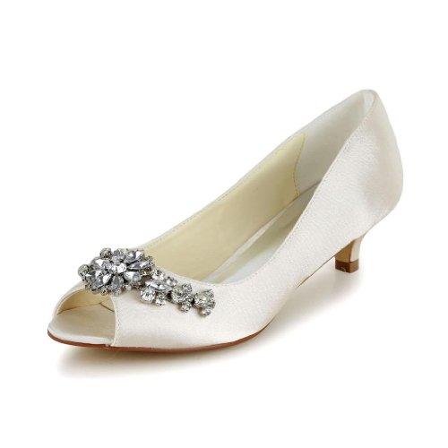 Jia Jia Bridal 01110 Satin Low Heel Peep toe Prom Party Dance...