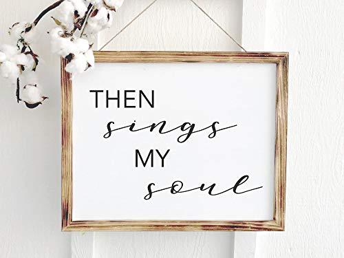 YSHDNDML Wanddekoration, englische Aufschrift Then Sings My Soul, englischsprachige Aufschrift How Great Thou Art, christliches Geschenk für Mutter, Holzschilder mit Sprüchen