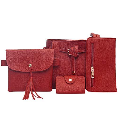 Dasongff Damen Handtaschen Schultertasche Geldbörse Kartenhalter Tasche set 4pc Mode-Handtasche+Schultertaschen+ Geldbörse+Kartengeldbeutel für Arbeit Schule Shopper Casual Täglich