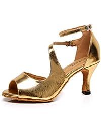 JSHOE Damen Tanzschuhe Latin Salsa/Tango/Tee/Samba/Modern/Jazz Schuhe Sandalen High HeelsRed-heeled7.5cm-UK7.5...