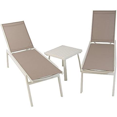 Conjunto de exterior, 2 tumbonas reclinables y mesa auxiliar - Portes gratis