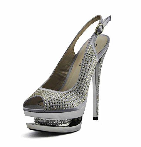 Günstige Schuhe Bestellenz-Frauen-Schuhe Diamante Sandalen Stud Partei Plattform-Stilett-Größe 3-8 Stil 2 - Silber