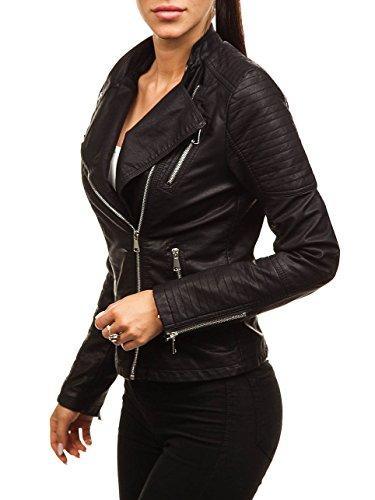 BOLF Mujer Chaqueta Cuero Ecológico FEIFA Fashion 88008 Negro XXL [D4