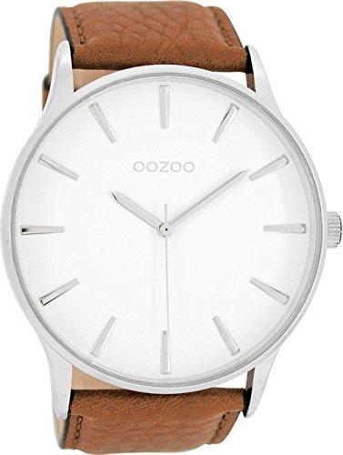 Oozoo Herrenuhr mit Lederband 50 MM Weiss/Cognac C8230