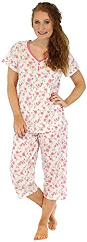 Sleepyheads Ladies 100% Cotton Lightweight Soft Short Sleeve Cropped Pyjamas Sleepwear Set (STCJ385SPR-XL)