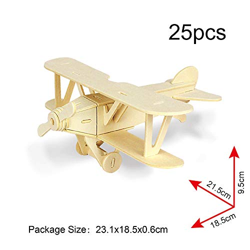 Georgie Porgy 3D Wooden Puzzle Animal Model Collection Woodcraft Construction kit Kids Jigsaw Toy age 5+ Pack of 3(Biplane Helicopter Civil Airplane)