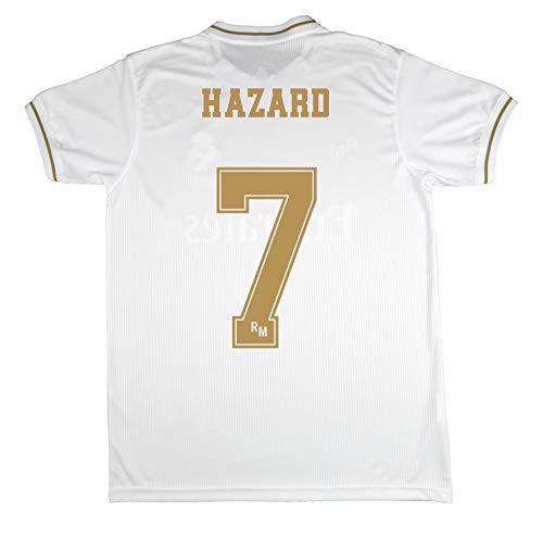 Real Madrid Camiseta Primera Equipación Talla Adulto Hazard Producto Oficial Licenciado Temporada 2019-2020 Color Blanco (Blanco, Talla M)
