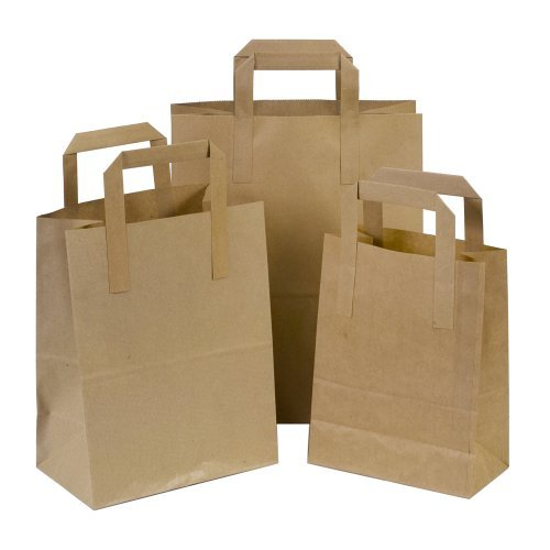 The Paper Bag Company Brown Paper Carrier Bags with Flat Handles, Pack of 50
