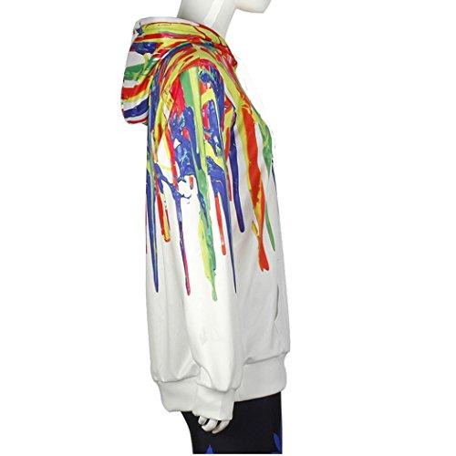 VENI MASEE Unisex 3D Digital Druck Casual Pullover Hoodie Sweatshirt für Liebhaber(M-2XL) Weiß