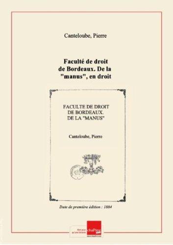 Facult de droit de Bordeaux. De la manus