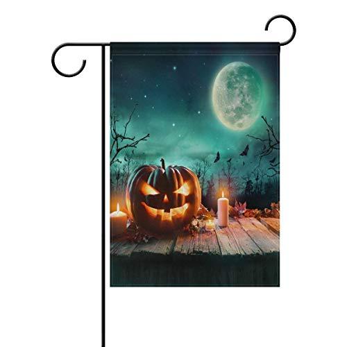 Halloween Pumpkin Green Moonlight Double Sided Garden Yard Flag, Fall Autumn Leaves Pumpkin Bat Decorative Garden Flag Banner for Outdoor Home Decor Party(Size: 12.5inch W X 18 inch H) (Bat House Kit)