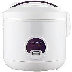 Reishunger cuiseur à Riz (1,2 l/500 W/220 V) Fonction de Maintien au Chaud, récipient intérieur de qualité supérieure, cuillère et Verre mesureur – Riz pour 6 Personnes Maximum